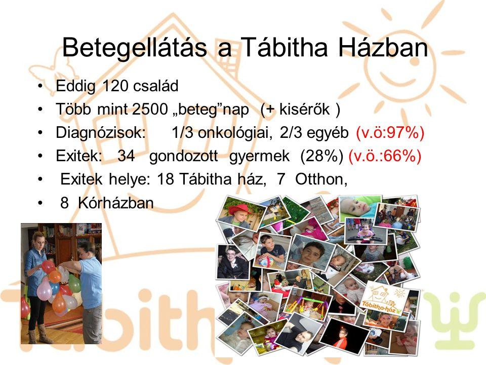 """Betegellátás a Tábitha Házban Eddig 120 család Több mint 2500 """"beteg""""nap (+ kisérők ) Diagnózisok: 1/3 onkológiai, 2/3 egyéb (v.ö:97%) Exitek: 34 gond"""