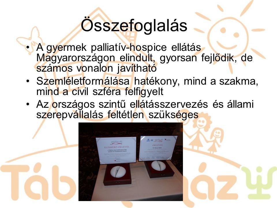 Összefoglalás A gyermek palliatív-hospice ellátás Magyarországon elindult, gyorsan fejlődik, de számos vonalon javítható Szemléletformálása hatékony,