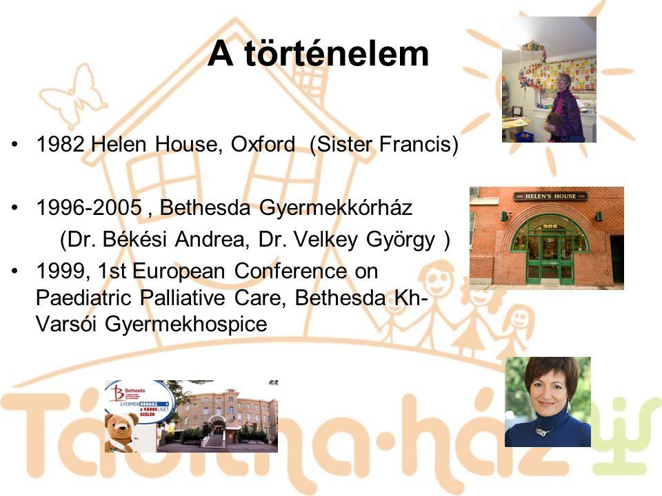 A történelem 1982 Helen House, Oxford (Sister Francis) 1996-2005, Bethesda Gyermekkórház (Dr. Békési Andrea, Dr. Velkey György ) 1999, 1st European Co