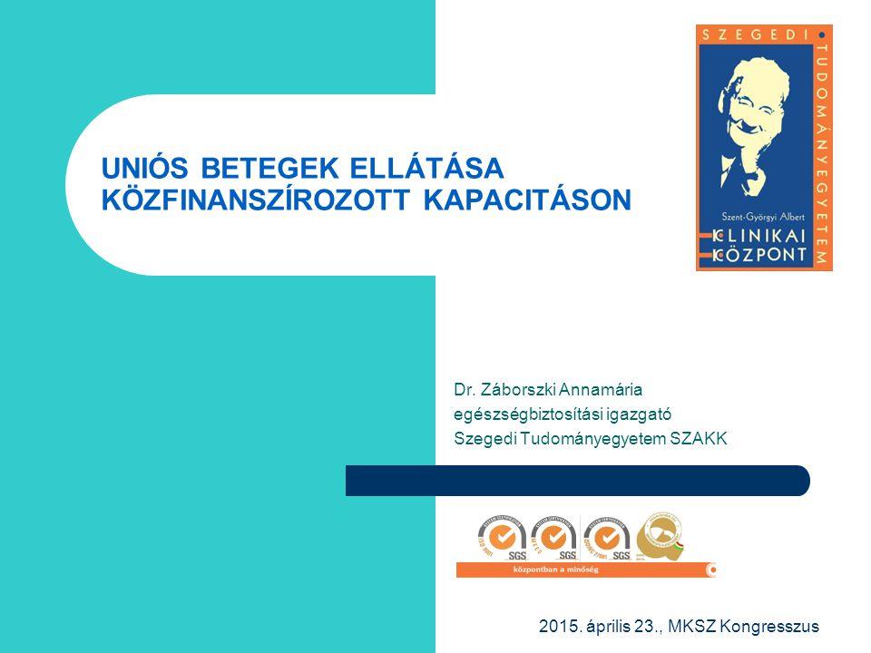 Dr. Záborszki Annamária egészségbiztosítási igazgató Szegedi Tudományegyetem SZAKK UNIÓS BETEGEK ELLÁTÁSA KÖZFINANSZÍROZOTT KAPACITÁSON 2015. április