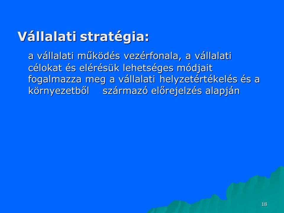 18 Vállalati stratégia: a vállalati működés vezérfonala, a vállalati célokat és elérésük lehetséges módjait fogalmazza meg a vállalati helyzetértékelé