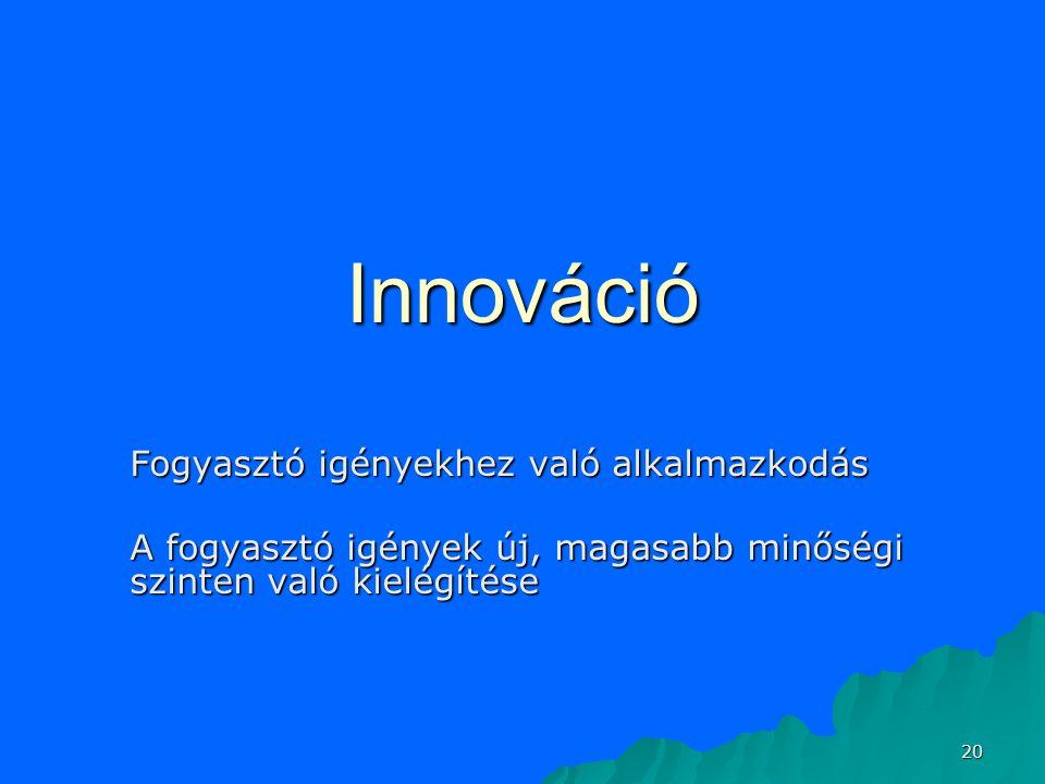 20 Innováció Fogyasztó igényekhez való alkalmazkodás A fogyasztó igények új, magasabb minőségi szinten való kielégítése