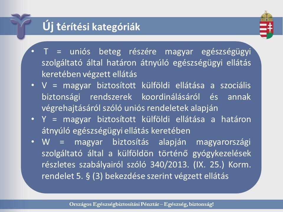 Országos Egészségbiztosítási Pénztár – Egészség, biztonság! Új t érítési kategóriák T = uniós beteg részére magyar egészségügyi szolgáltató által hatá