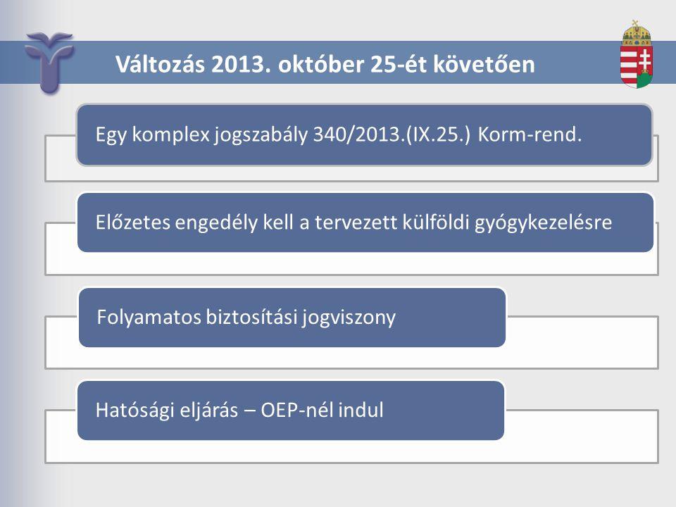 Változás 2013. október 25-ét követően Egy komplex jogszabály 340/2013.(IX.25.) Korm-rend. Előzetes engedély kell a tervezett külföldi gyógykezelésreFo