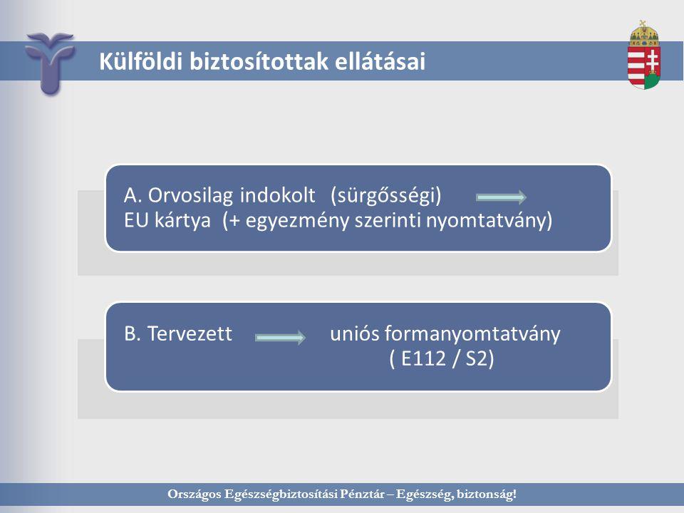 Külföldi biztosítottak ellátásai A. Orvosilag indokolt (sürgősségi) EU kártya (+ egyezmény szerinti nyomtatvány) B. Tervezett uniós formanyomtatvány (