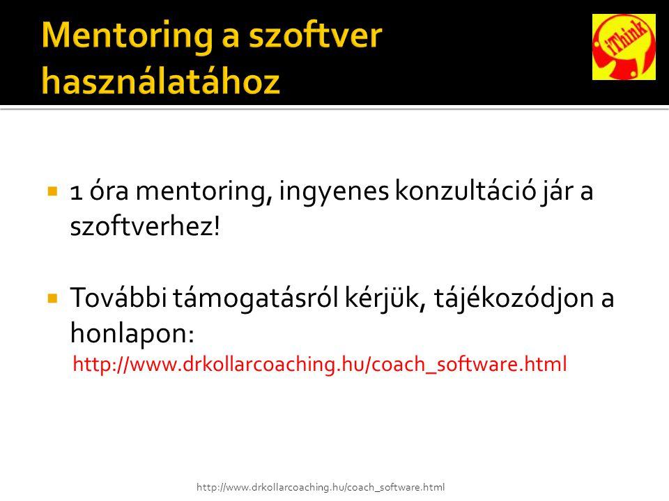  1 óra mentoring, ingyenes konzultáció jár a szoftverhez.