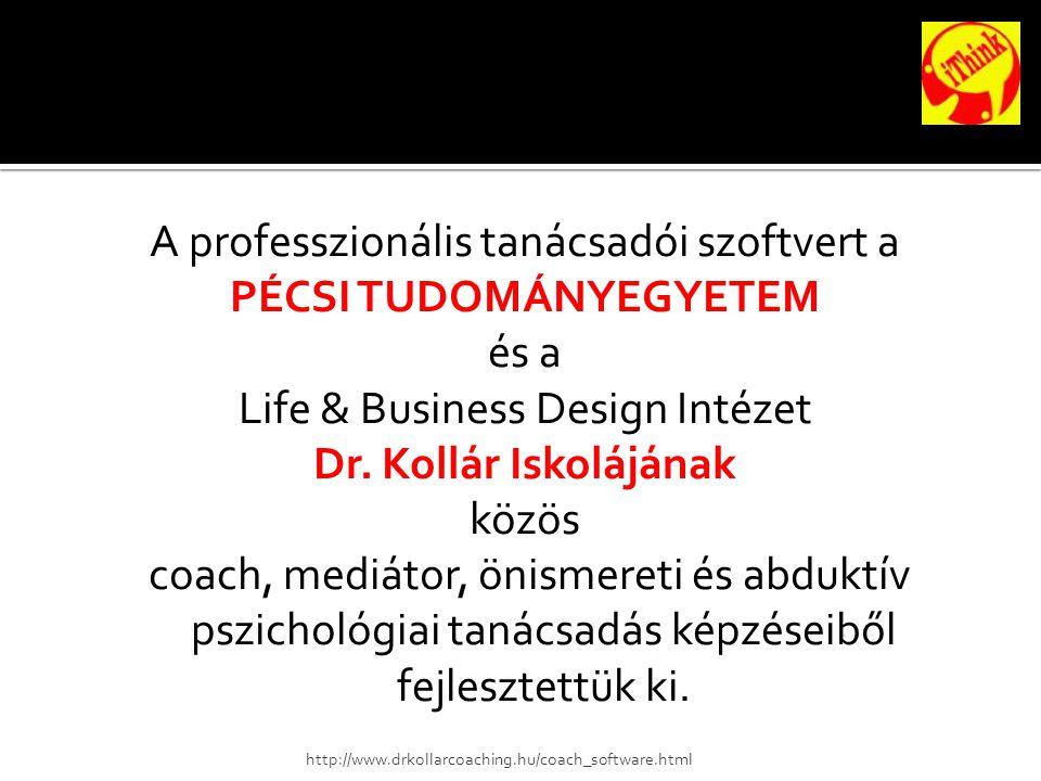 A professzionális tanácsadói szoftvert a PÉCSI TUDOMÁNYEGYETEM és a Life & Business Design Intézet Dr.