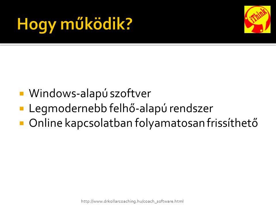  Windows-alapú szoftver  Legmodernebb felhő-alapú rendszer  Online kapcsolatban folyamatosan frissíthető http://www.drkollarcoaching.hu/coach_software.html