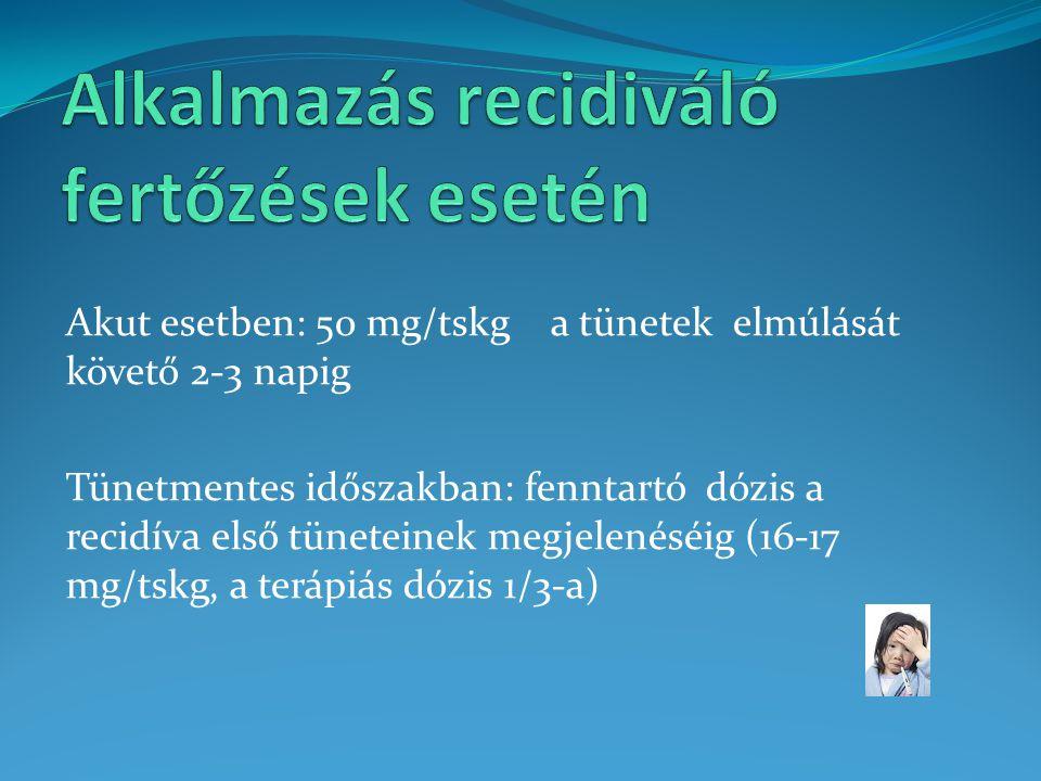 Akut esetben: 50 mg/tskg a tünetek elmúlását követő 2-3 napig Tünetmentes időszakban: fenntartó dózis a recidíva első tüneteinek megjelenéséig (16-17
