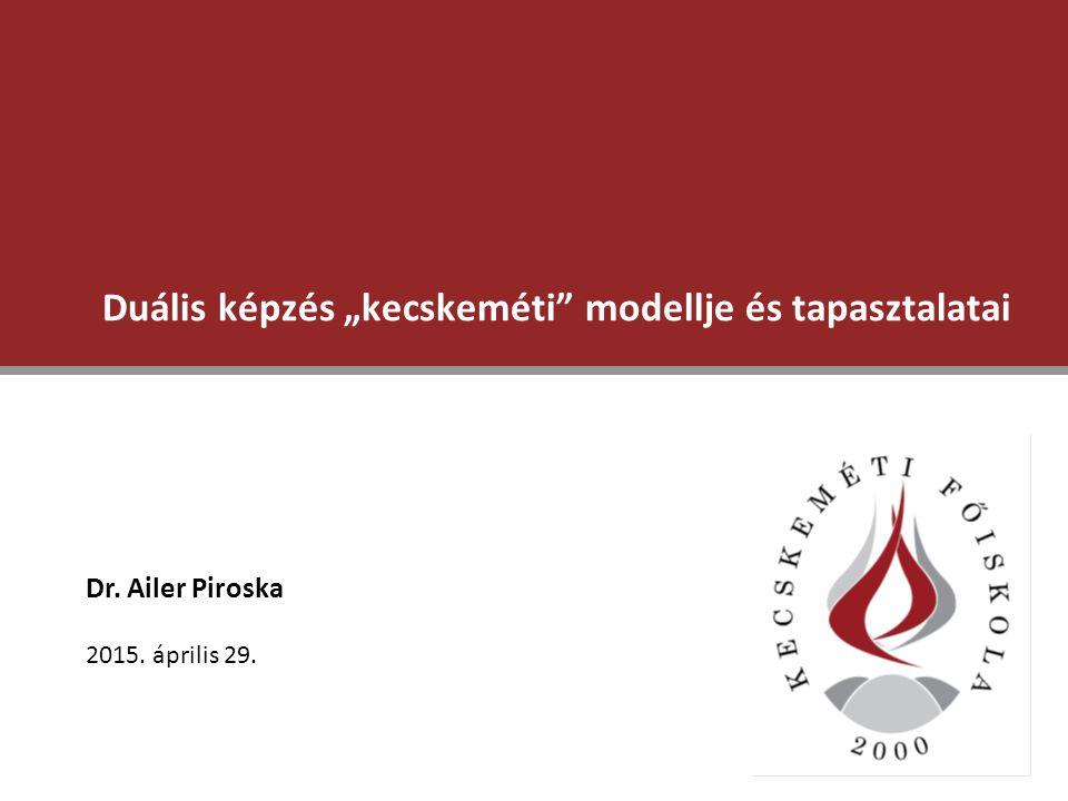 2 Duális képzés a Kecskeméti Főiskolán – a kezdetek Két vállalati partner: Előkészítés a magyarországi bevezetéshez:  Főiskola és a vállalatok közötti együttműködés  hallgató és vállalat közötti szerződés  képzés időbeli struktúrája  marketing és kommunikációs stratégia a társadalom, a középiskolák, a szülők és a potenciális hallgatók irányába  hallgatók vállalati (!) kiválasztásának módszere  vállalati képzési programok kidolgozása a Főiskola támogatásával és jóváhagyásával 2 jogi lépések