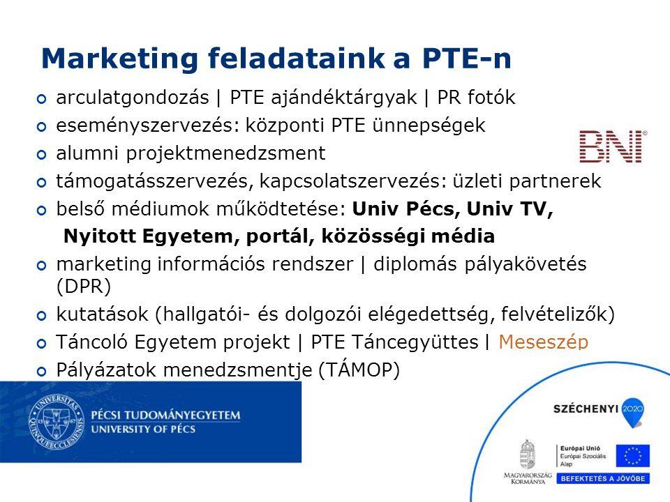 Marketing feladataink a PTE-n arculatgondozás | PTE ajándéktárgyak | PR fotók eseményszervezés: központi PTE ünnepségek alumni projektmenedzsment támogatásszervezés, kapcsolatszervezés: üzleti partnerek belső médiumok működtetése: Univ Pécs, Univ TV, Nyitott Egyetem, portál, közösségi média marketing információs rendszer | diplomás pályakövetés (DPR) kutatások (hallgatói- és dolgozói elégedettség, felvételizők) Táncoló Egyetem projekt | PTE Táncegyüttes | Meseszép Pályázatok menedzsmentje (TÁMOP)