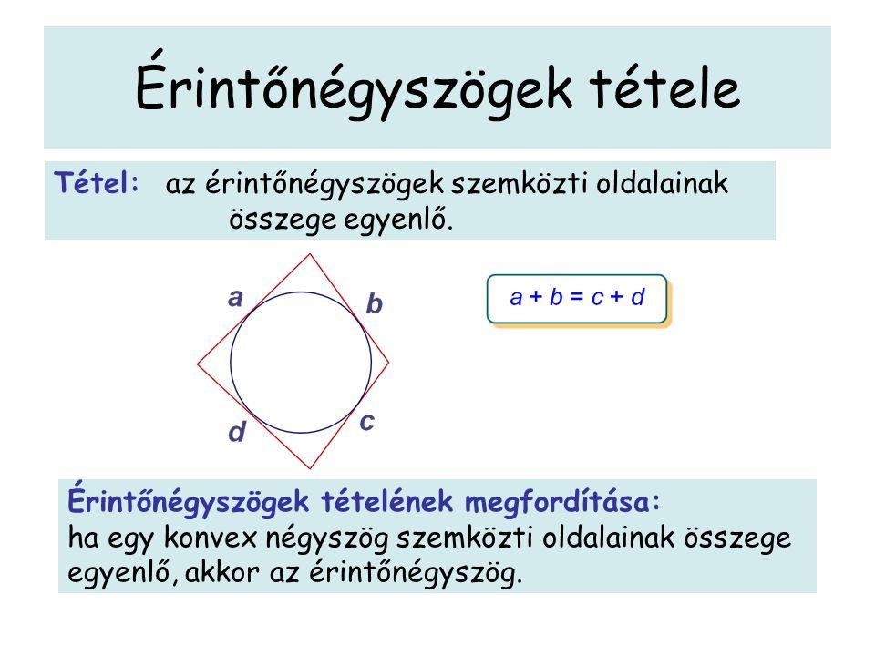 Érintőnégyszögek tétele Tétel: az érintőnégyszögek szemközti oldalainak összege egyenlő. Érintőnégyszögek tételének megfordítása: ha egy konvex négysz