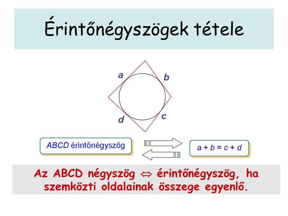 Érintőnégyszögek tétele Tétel: az érintőnégyszögek szemközti oldalainak összege egyenlő.