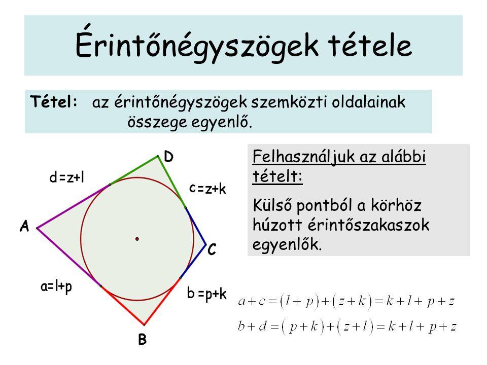 Érintőnégyszögek tétele Tétel: az érintőnégyszögek szemközti oldalainak összege egyenlő. Felhasználjuk az alábbi tételt: Külső pontból a körhöz húzott