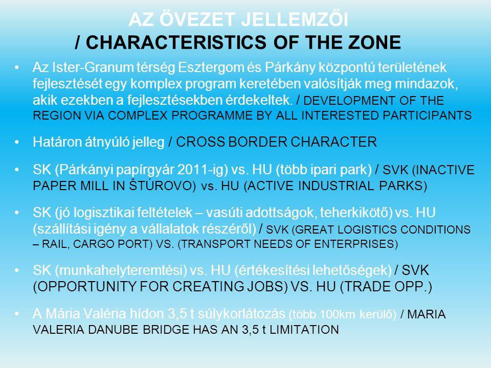 AZ ÖVEZET JELLEMZŐI / CHARACTERISTICS OF THE ZONE Az Ister-Granum térség Esztergom és Párkány központú területének fejlesztését egy komplex program ke