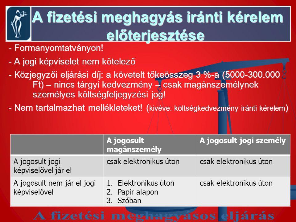 A fizetési meghagyás iránti kérelem előterjesztése A fizetési meghagyás iránti kérelem előterjesztése - Formanyomtatványon! - A jogi képviselet nem kö