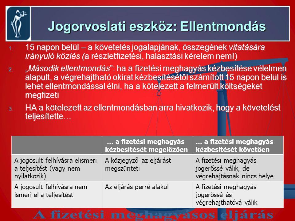Jogorvoslati eszköz: Ellentmondás Jogorvoslati eszköz: Ellentmondás 1. 15 napon belül – a követelés jogalapjának, összegének vitatására irányuló közlé