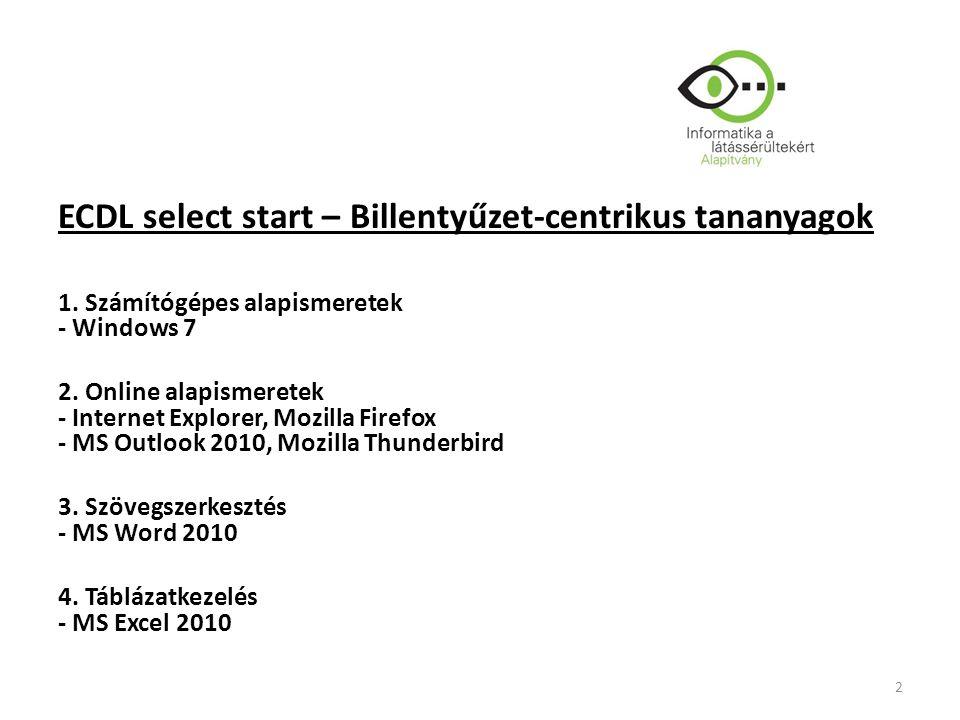 ECDL select start – Billentyűzet-centrikus tananyagok 1.
