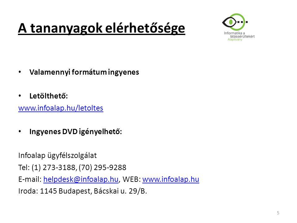 A tananyagok elérhetősége Valamennyi formátum ingyenes Letölthető: www.infoalap.hu/letoltes Ingyenes DVD igényelhető: Infoalap ügyfélszolgálat Tel: (1) 273-3188, (70) 295-9288 E-mail: helpdesk@infoalap.hu, WEB: www.infoalap.huhelpdesk@infoalap.huwww.infoalap.hu Iroda: 1145 Budapest, Bácskai u.