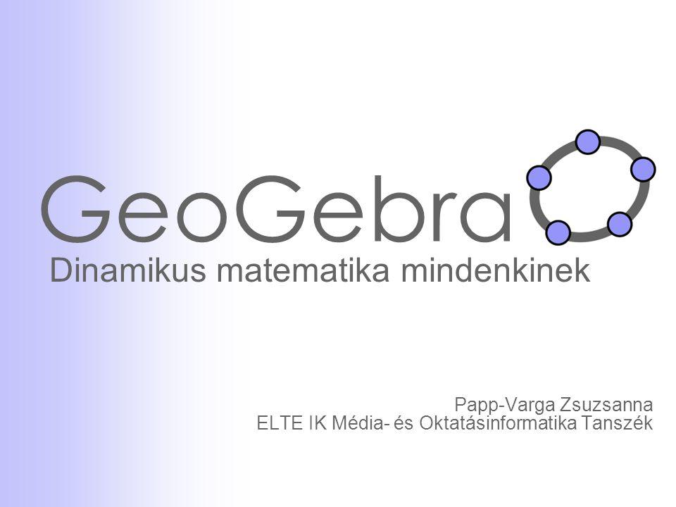 GeoGebra A GeoGebra programról Dinamikus matematikai szoftver  dinamikus geometriai program (DGS)  komputer algebrai rendszer (CAS) Használatához csak alapvető felhasználói ismeretek szükségesek Open source – http://www.geogebra.org oldalról ingyenesen letölthetőhttp://www.geogebra.org Platform független (Windows/ Linux/ Mac OS) Magyar fordításban is elérhető