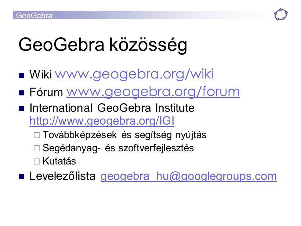 GeoGebra GeoGebra közösség Wiki www.geogebra.org/wiki www.geogebra.org/wiki Fórum www.geogebra.org/forum www.geogebra.org/forum International GeoGebra
