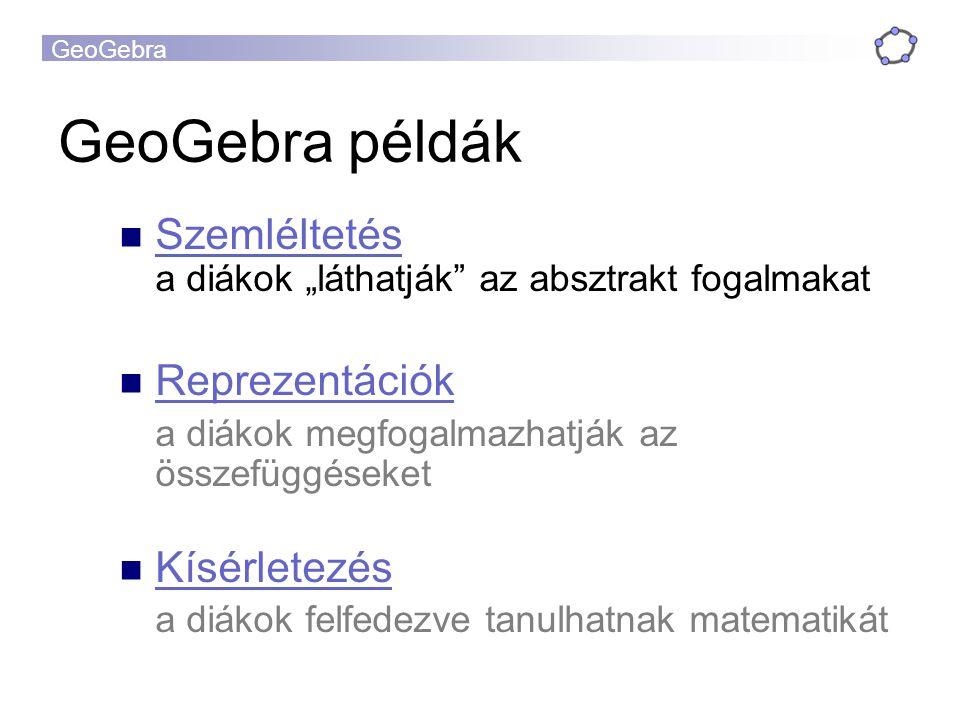 GeoGebra GeoGebra közösség Wiki www.geogebra.org/wiki www.geogebra.org/wiki Fórum www.geogebra.org/forum www.geogebra.org/forum International GeoGebra Institute http://www.geogebra.org/IGI http://www.geogebra.org/IGI  Továbbképzések és segítség nyújtás  Segédanyag- és szoftverfejlesztés  Kutatás Levelezőlista geogebra_hu@googlegroups.comgeogebra_hu@googlegroups.com