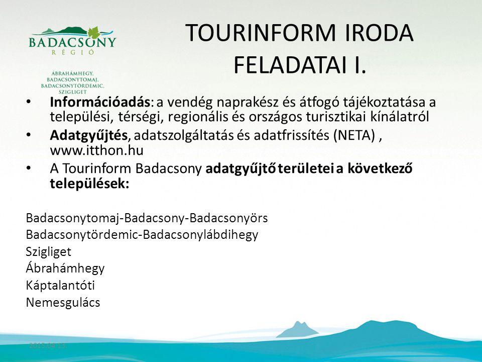 TOURINFORM IRODA FELADATAI I.