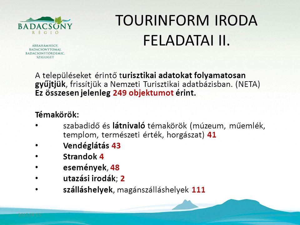 TOURINFORM IRODA FELADATAI II.