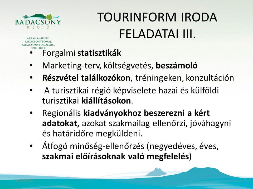 TOURINFORM IRODA FELADATAI III.