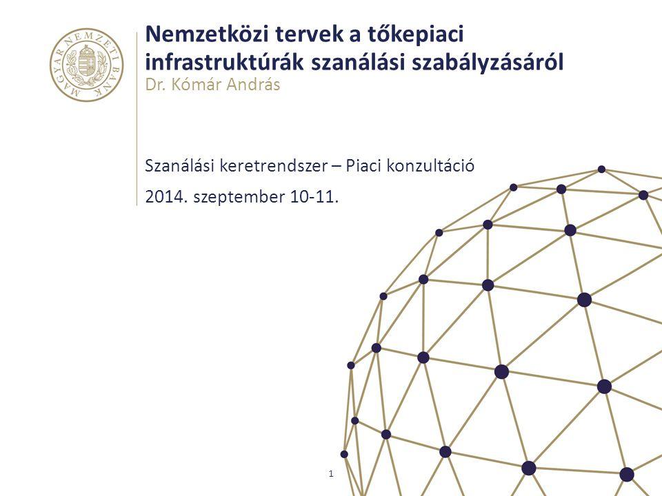 Nemzetközi tervek a tőkepiaci infrastruktúrák szanálási szabályzásáról Szanálási keretrendszer – Piaci konzultáció Dr.