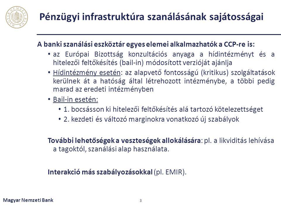 Pénzügyi infrastruktúra szanálásának sajátosságai A banki szanálási eszköztár egyes elemei alkalmazhatók a CCP-re is: az Európai Bizottság konzultációs anyaga a hídintézményt és a hitelezői feltőkésítés (bail-in) módosított verzióját ajánlja Hídintézmény esetén: az alapvető fontosságú (kritikus) szolgáltatások kerülnek át a hatóság által létrehozott intézménybe, a többi pedig marad az eredeti intézményben Bail-in esetén: 1.