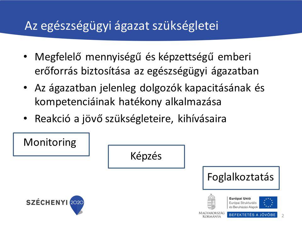 Az egészségügyi ágazat szükségletei Megfelelő mennyiségű és képzettségű emberi erőforrás biztosítása az egészségügyi ágazatban Az ágazatban jelenleg dolgozók kapacitásának és kompetenciáinak hatékony alkalmazása Reakció a jövő szükségleteire, kihívásaira 2 Foglalkoztatás Képzés Monitoring