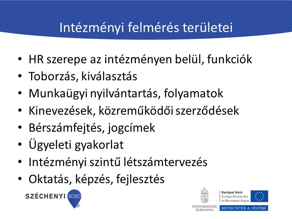 Intézményi felmérés területei HR szerepe az intézményen belül, funkciók Toborzás, kiválasztás Munkaügyi nyilvántartás, folyamatok Kinevezések, közremű