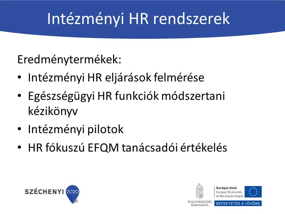Intézményi HR rendszerek Eredménytermékek: Intézményi HR eljárások felmérése Egészségügyi HR funkciók módszertani kézikönyv Intézményi pilotok HR fókuszú EFQM tanácsadói értékelés