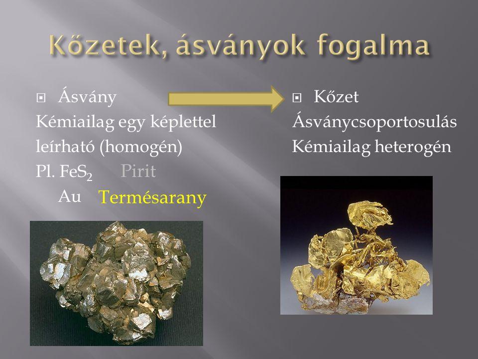  Ásvány Kémiailag egy képlettel leírható (homogén) Pl.