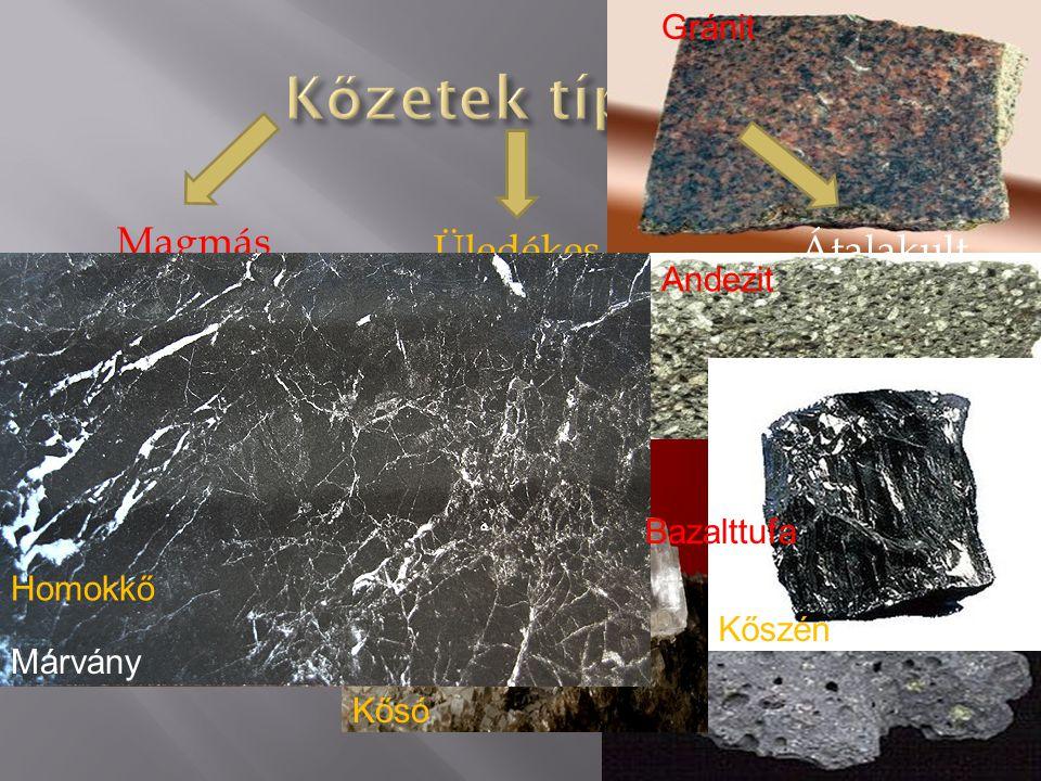 Üledékes Magmás Átalakult Mélységi Vulkáni - kiömlési Vulkáni - törmelékes Vegyi TörmelékesSzerves eredetű Gránit Andezit Bazalttufa Homokkő Kősó Kőszén Márvány