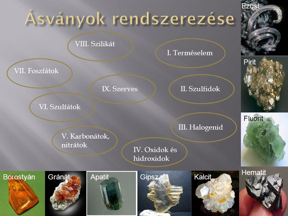 I.Terméselem II. Szulfidok III. Halogenid IV. Oxidok és hidroxidok V.