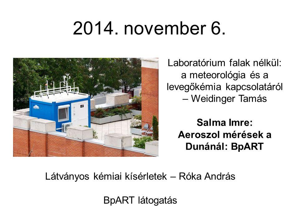 2014. november 6. Laboratórium falak nélkül: a meteorológia és a levegőkémia kapcsolatáról – Weidinger Tamás Salma Imre: Aeroszol mérések a Dunánál: B