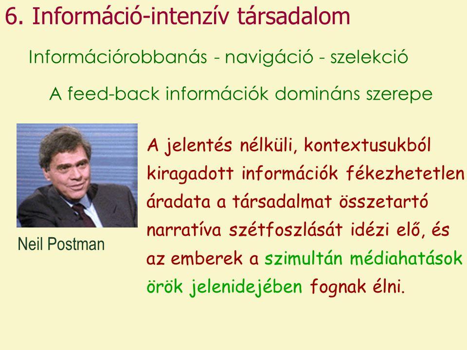 6. Információ-intenzív társadalom Információrobbanás - navigáció - szelekció A jelentés nélküli, kontextusukból kiragadott információk fékezhetetlen á