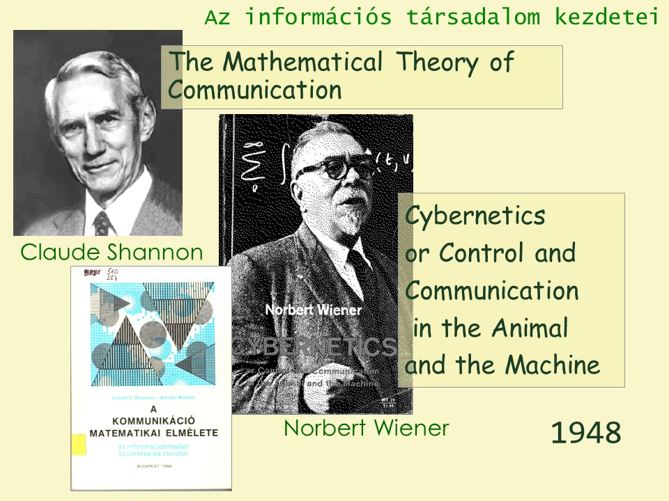 The Mathematical Theory of Communication Claude Shannon Norbert Wiener Cybernetics or Control and Communication in the Animal and the Machine 1948 Az információs társadalom kezdetei