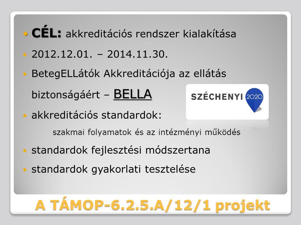A TÁMOP-6.2.5.A/12/1 projekt CÉL: CÉL: akkreditációs rendszer kialakítása 2012.12.01. – 2014.11.30. BELLA BetegELLátók Akkreditációja az ellátás bizto