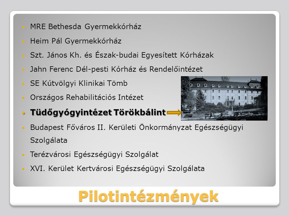 Pilotintézmények MRE Bethesda Gyermekkórház Heim Pál Gyermekkórház Szt. János Kh. és Észak-budai Egyesített Kórházak Jahn Ferenc Dél-pesti Kórház és R