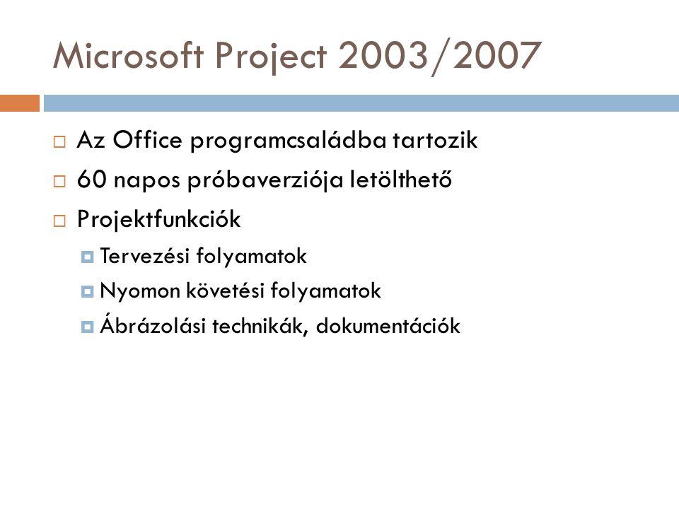 Microsoft Project 2003/2007  Az Office programcsaládba tartozik  60 napos próbaverziója letölthető  Projektfunkciók  Tervezési folyamatok  Nyomon követési folyamatok  Ábrázolási technikák, dokumentációk
