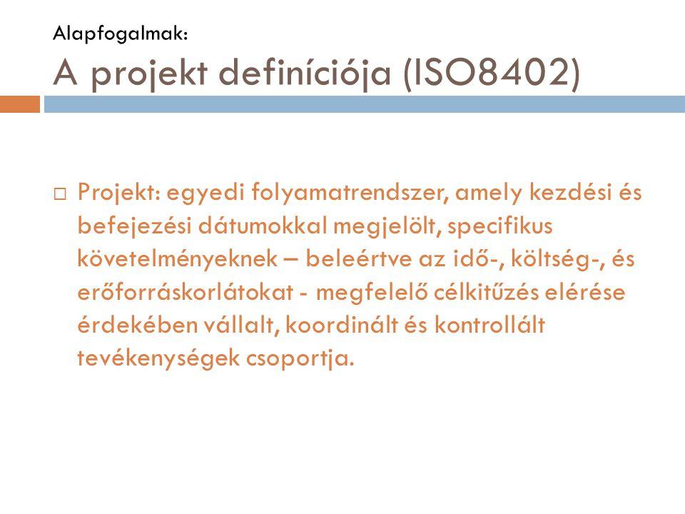 Alapfogalmak: A projekt definíciója (ISO8402)  Projekt: egyedi folyamatrendszer, amely kezdési és befejezési dátumokkal megjelölt, specifikus követelményeknek – beleértve az idő-, költség-, és erőforráskorlátokat - megfelelő célkitűzés elérése érdekében vállalt, koordinált és kontrollált tevékenységek csoportja.