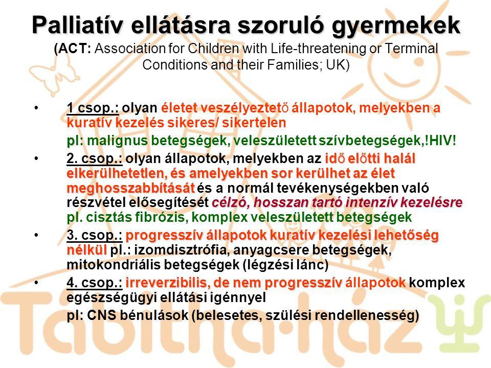 Palliatív ellátásra szoruló gyermekek Palliatív ellátásra szoruló gyermekek (ACT: Association for Children with Life-threatening or Terminal Condition