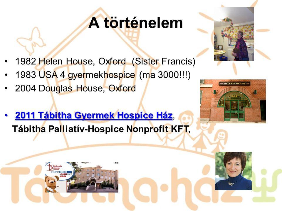 A történelem 1982 Helen House, Oxford (Sister Francis) 1983 USA 4 gyermekhospice (ma 3000!!!) 2004 Douglas House, Oxford 2011 Tábitha Gyermek Hospice