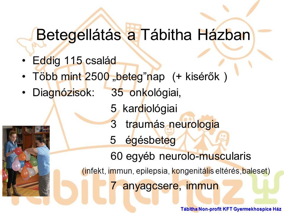 """Betegellátás a Tábitha Házban Eddig 115 család Több mint 2500 """"beteg""""nap (+ kisérők ) Diagnózisok: 35 onkológiai, 5 kardiológiai 3 traumás neurologia"""