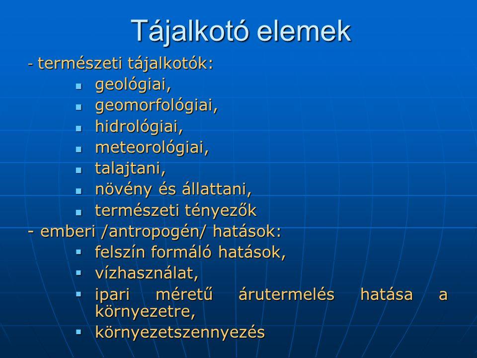 Tájalkotó elemek - természeti tájalkotók: geológiai, geológiai, geomorfológiai, geomorfológiai, hidrológiai, hidrológiai, meteorológiai, meteorológiai