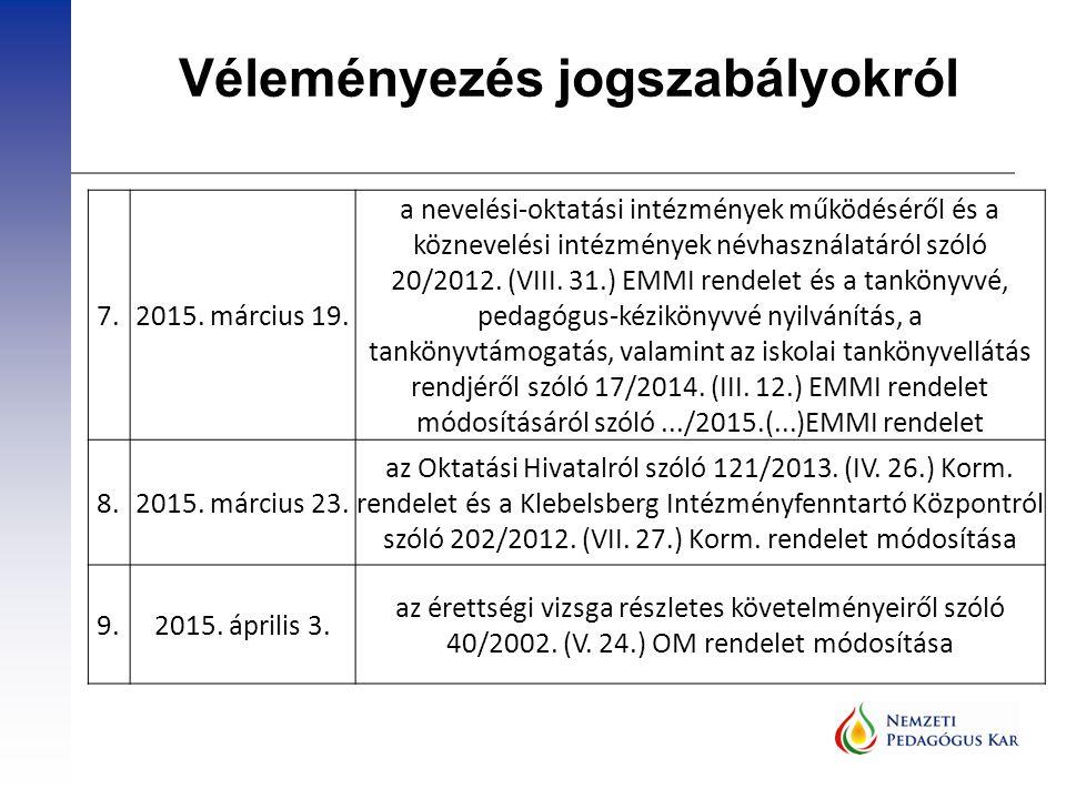Véleményezés jogszabályokról 7.2015. március 19. a nevelési-oktatási intézmények működéséről és a köznevelési intézmények névhasználatáról szóló 20/20