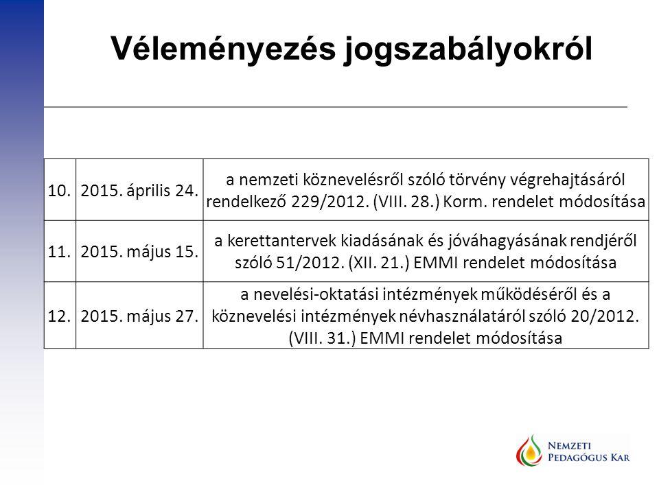 10.2015. április 24. a nemzeti köznevelésről szóló törvény végrehajtásáról rendelkező 229/2012. (VIII. 28.) Korm. rendelet módosítása 11.2015. május 1